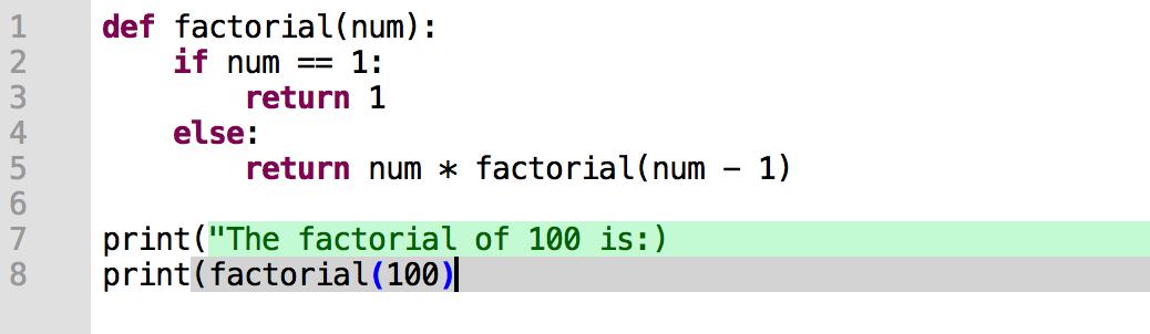 阶乘函数的语法错误