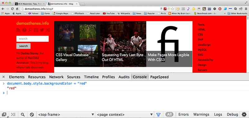 Screenshot of the Chrome console window