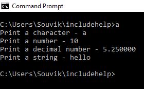 printf() example in C language