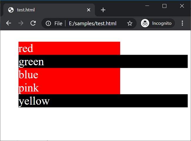 Wildcard selectors (2) in CSS
