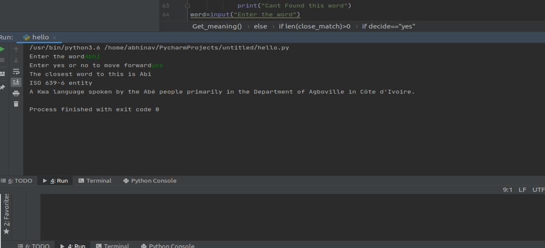 Python   English Dictionary Application Output