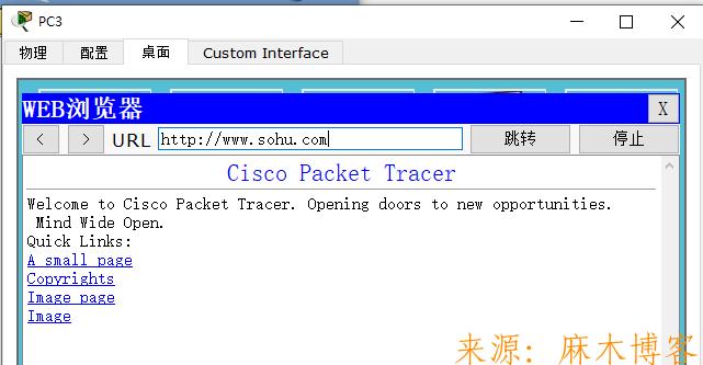 思科模拟器实验配置路由器-4个部门的电脑都可以访问公司服务器网站www.sohu.com  思科模拟器 第16张