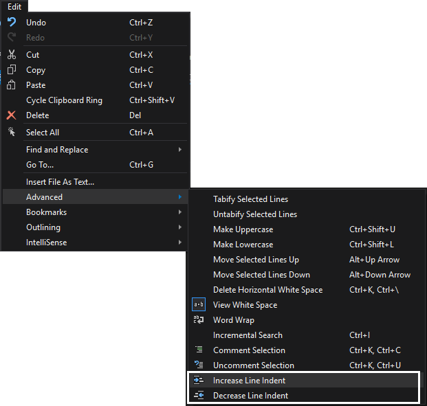 SSMS text editor options - indenting menu options