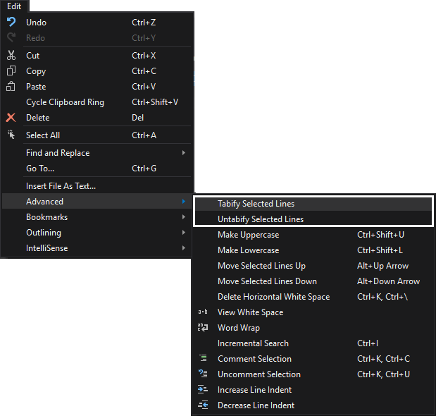 SSMS text editor options - tabify options
