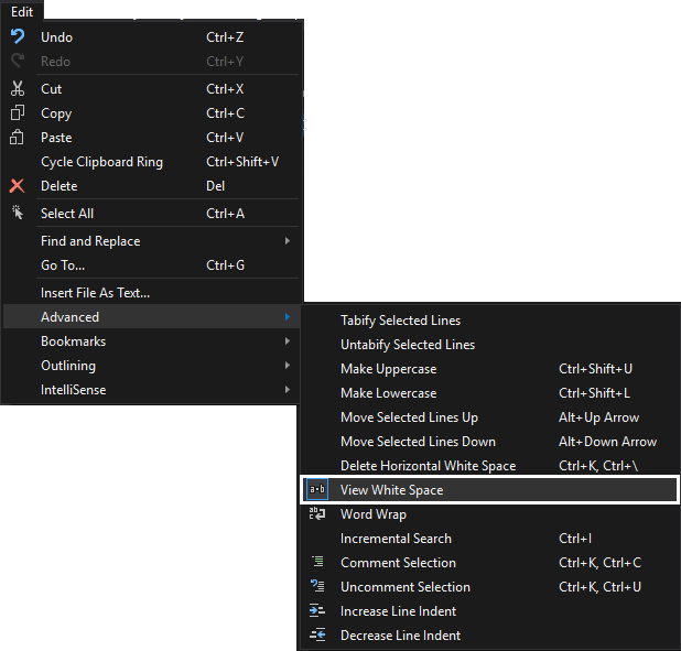 SSMS text editor options - white space