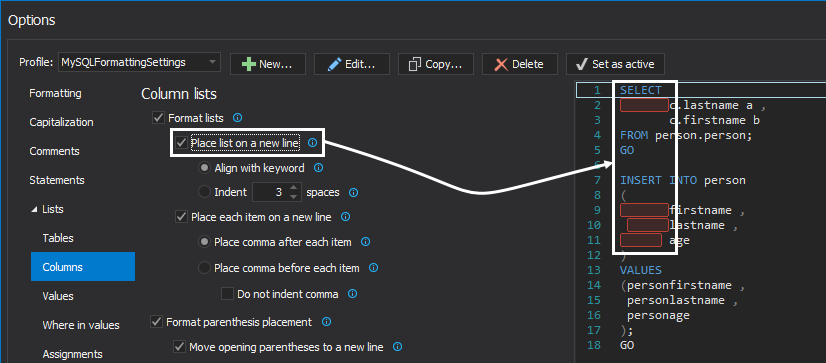 SQL formatter options - column lists
