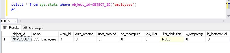 Check the stats after creating Columnstore index SQL Server