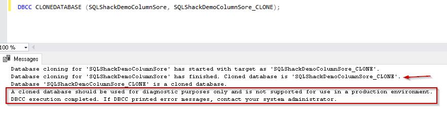 Clone database for DB having  Columnstore index SQL Server