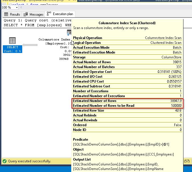 SQL Server 2019 columnstore index execution plan