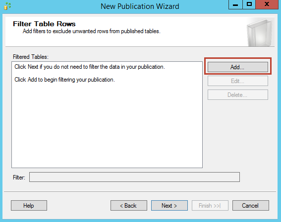 Add filter table rows