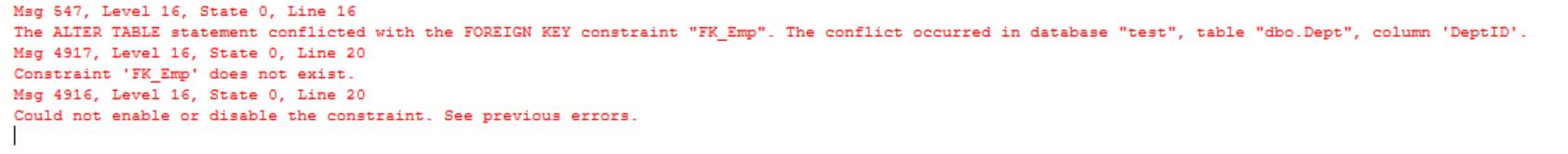 create foreign key error