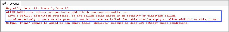 Error message in adding column