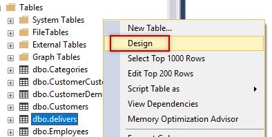 SSMS Design table
