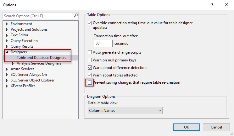 Uncheck Prevent saving changes that require table re-creation