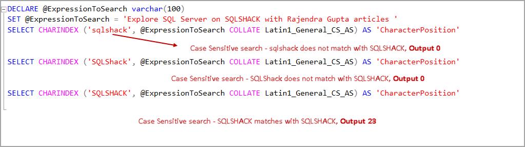 Case Sensitive search in SQL Server
