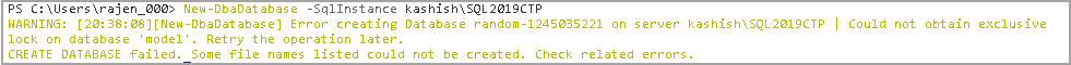Error while creating SQL Server Database