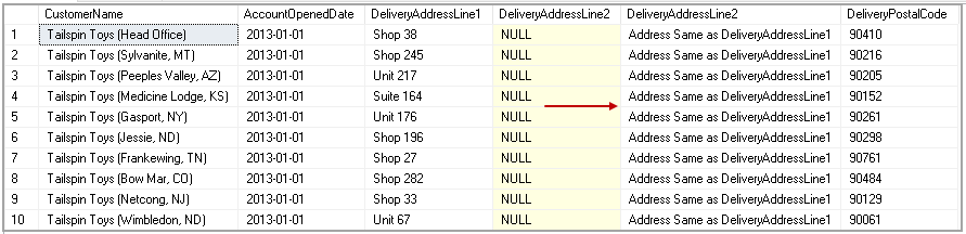replace the NULL value with custom message