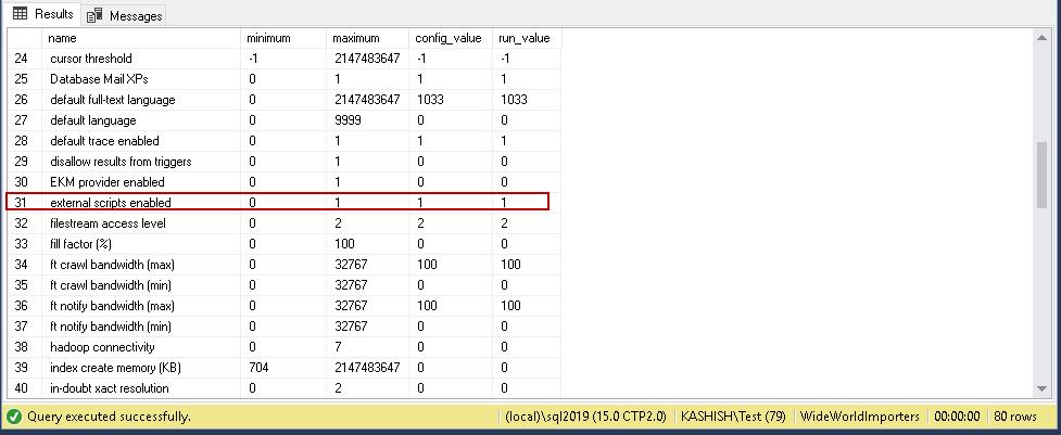 Verify 'external scripts enabled' Python SQL results