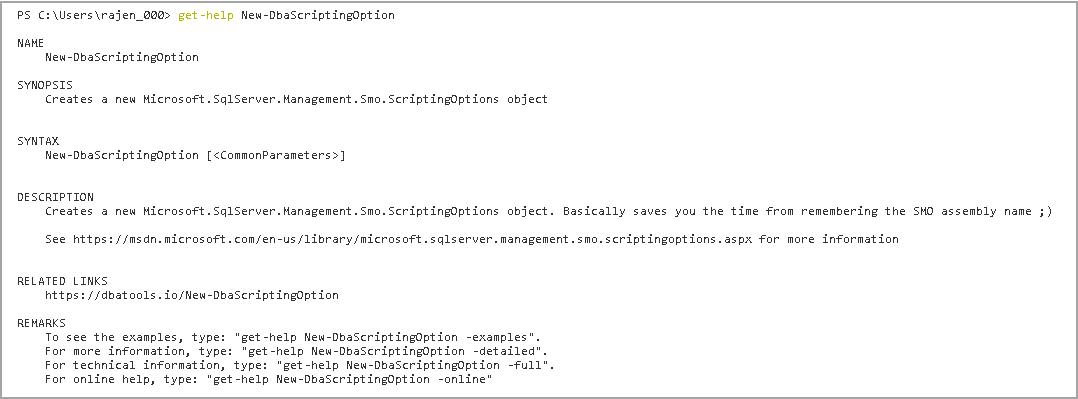 New-DbaScriptingOption command DBATools