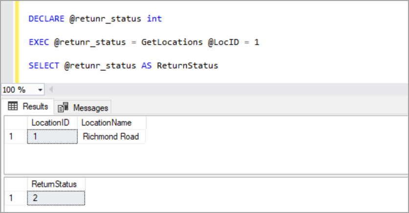 assigning value returned from procedure to a variable using EXECUTE SQL