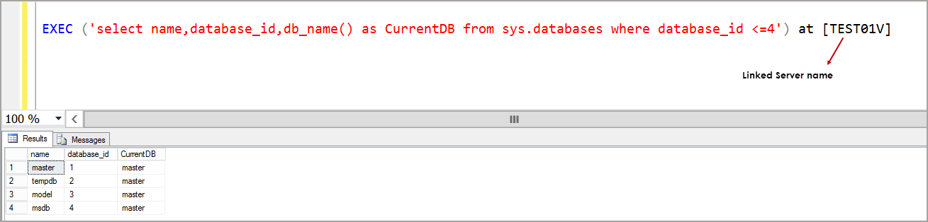 EXEC SQL query on linked server
