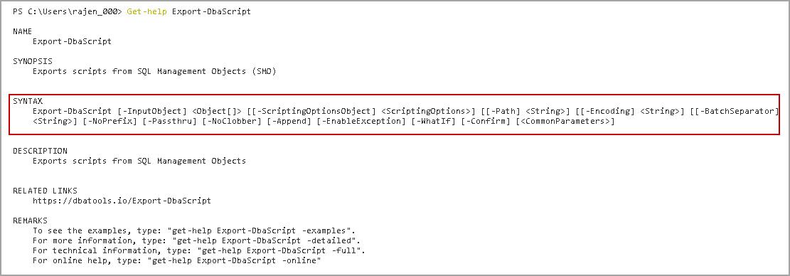 Export-DbaScript DBATools command