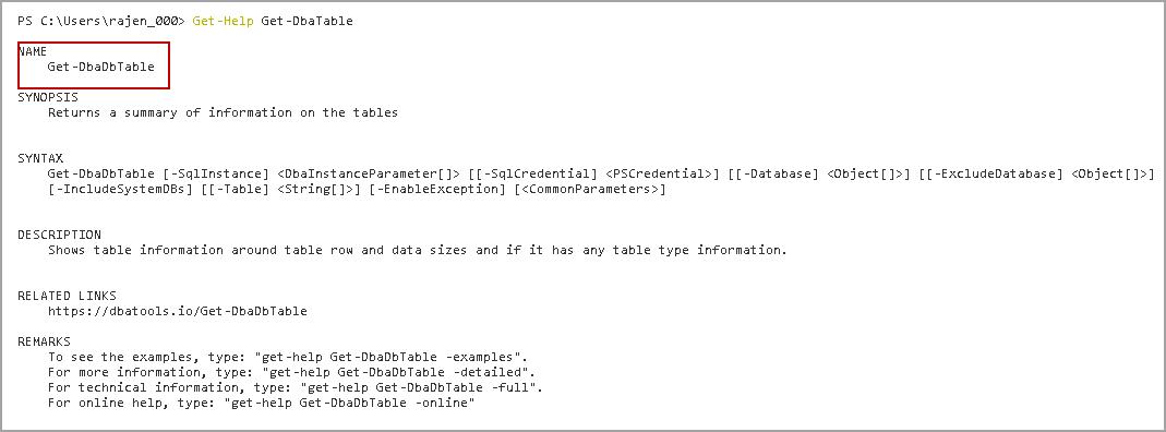 Get-DbaTable DBATools command
