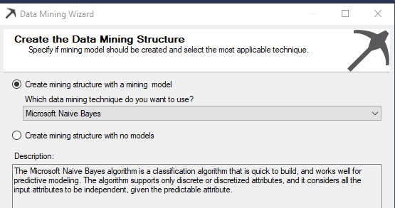 Selection of Naive Bayes Algorithm during the creation of dat mining structure.