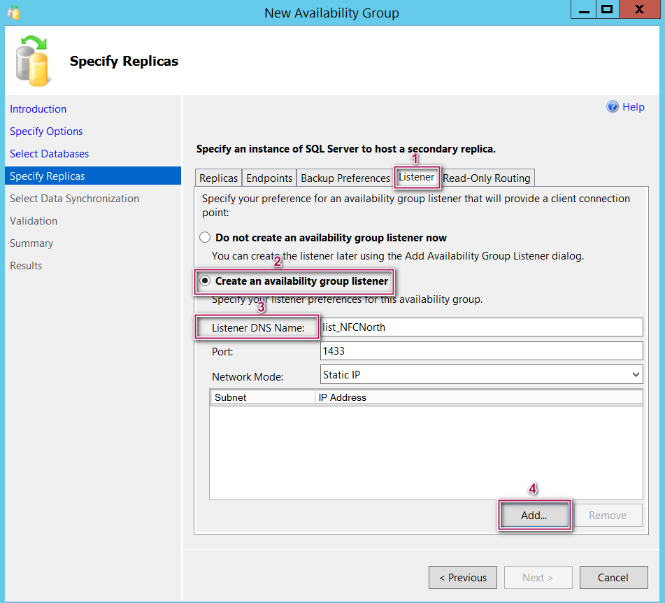 NewSQL Server Always On  availability group - specify replicas - listeners