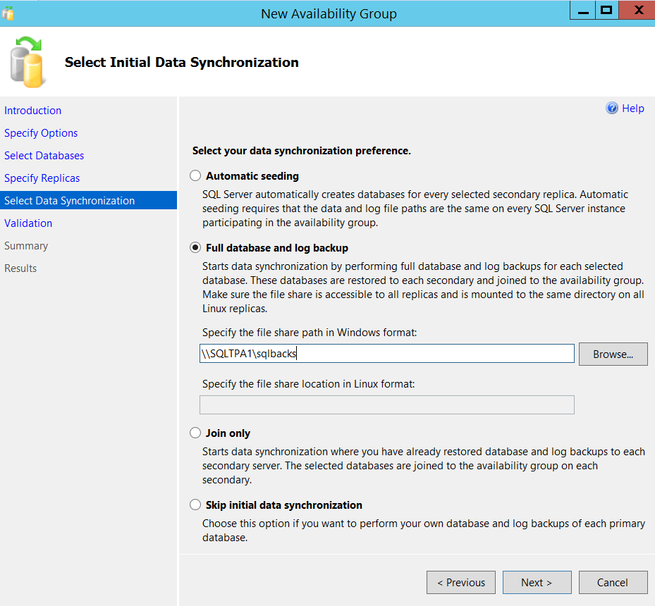 New SQL Server Always On availability group - select data synchronization