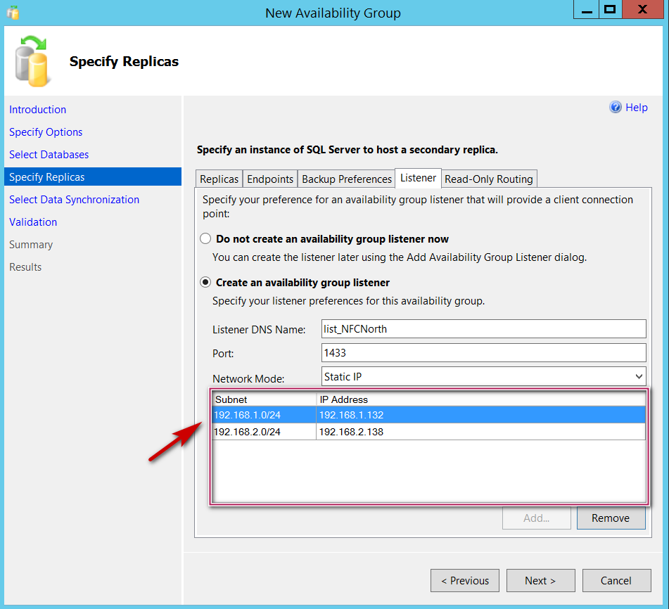 New SQL Server Always On Availability group - Specify replicas - Network Mode