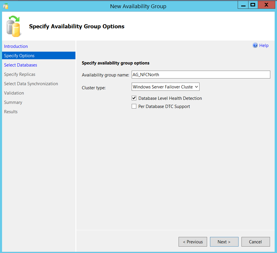 New SQL Server Always On availability group - specify options