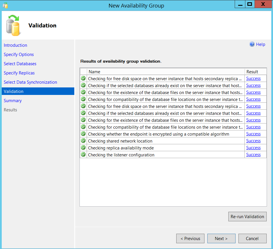 New SQL Server Always On availability group - validation