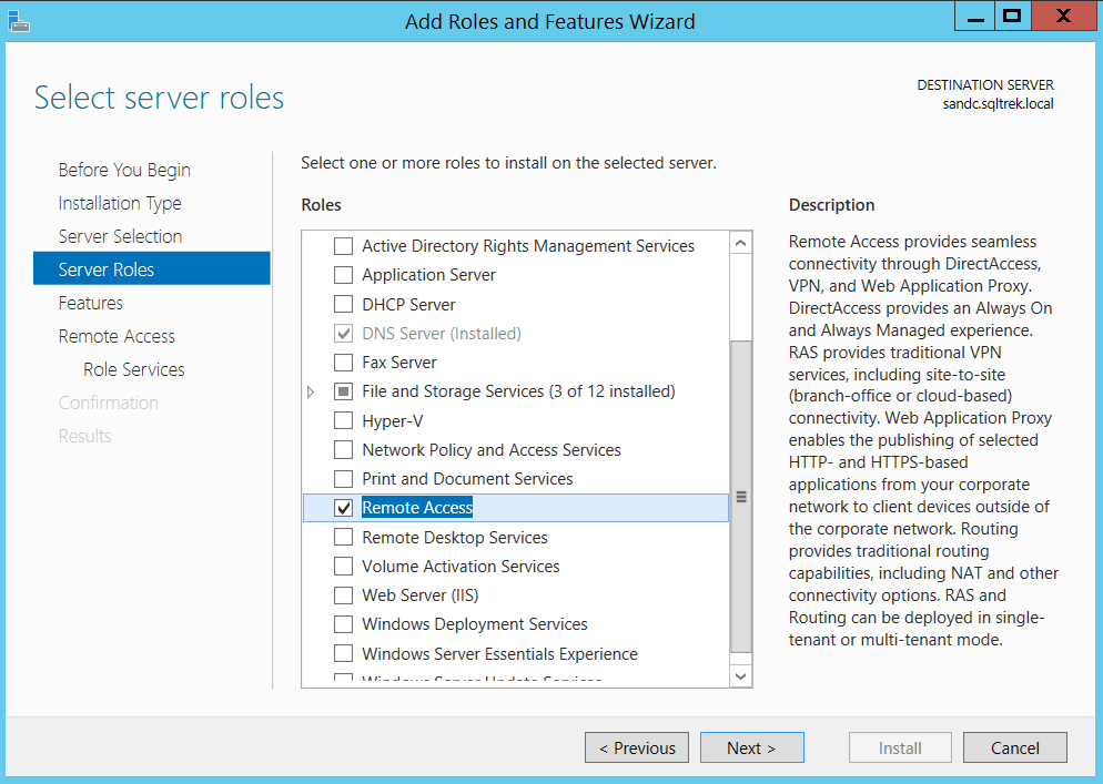 Add Roles and Features Wizard - Remote access