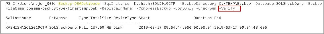 Backup SQL database - Backup verification and validation using DBATools