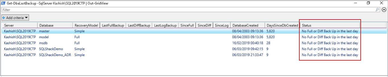 Backup SQL database - last database backups using command Get-DbaLastBackup.