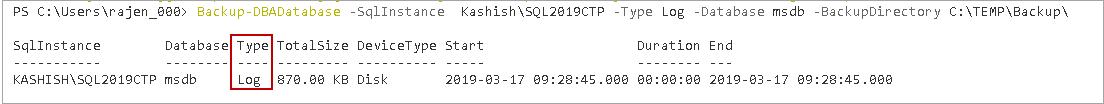 Backup SQL database - Transaction log backup using DBATools