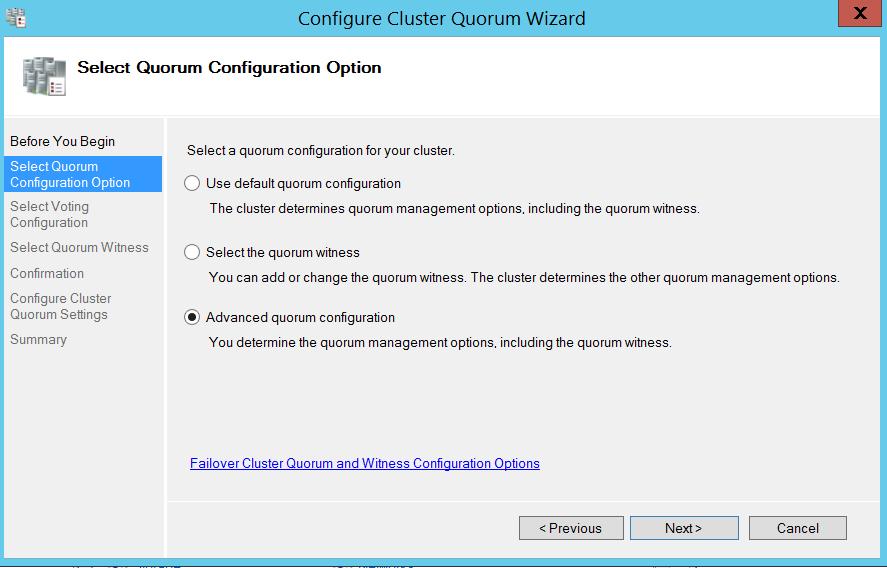 Configure cluser quorum wizard - Select quorum configuration options