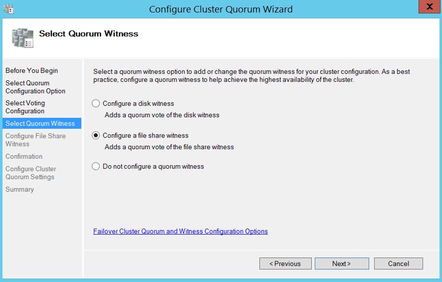 Configure cluser quorum wizard - select quorum witness