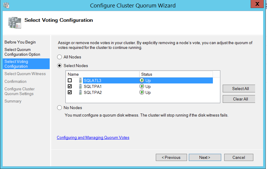 Configure cluser quorum wizard - select voting configuration