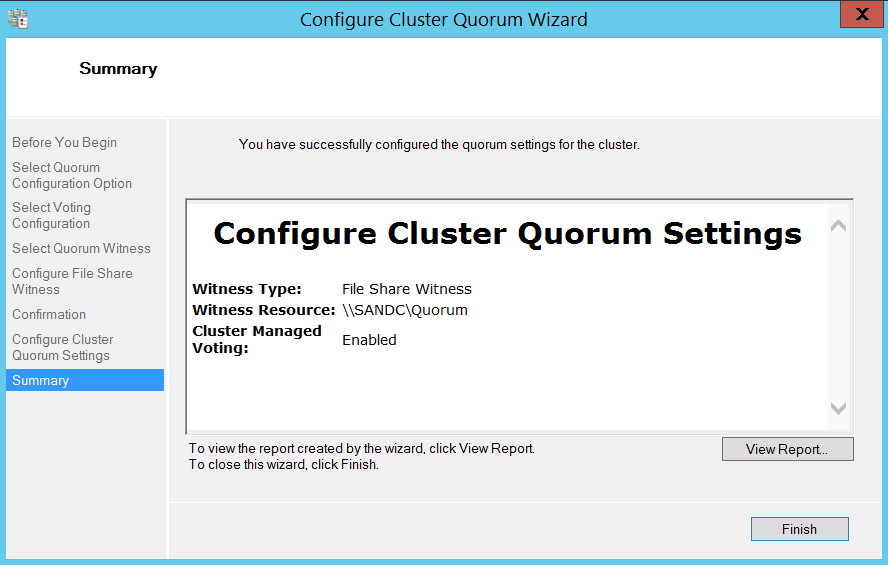 Configure cluser quorum wizard - summary