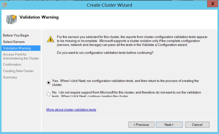 Create cluster wizard - validation warning
