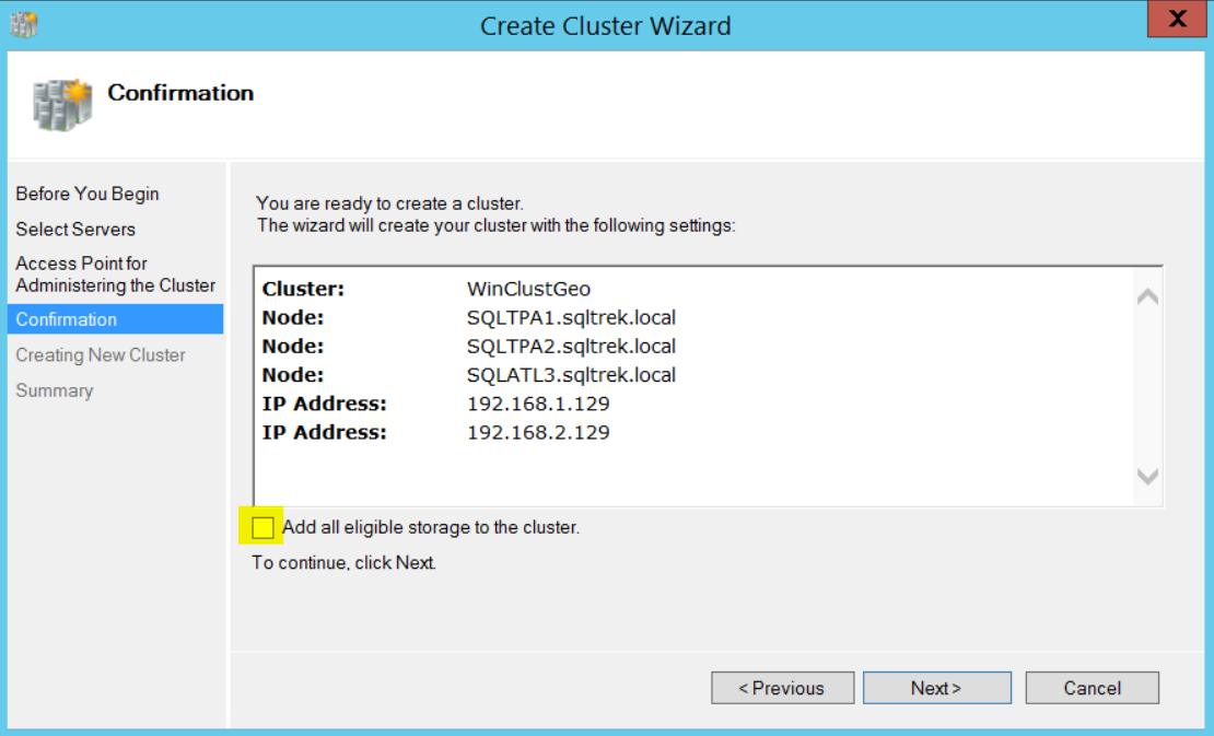 Create cluster wizard - confirmation