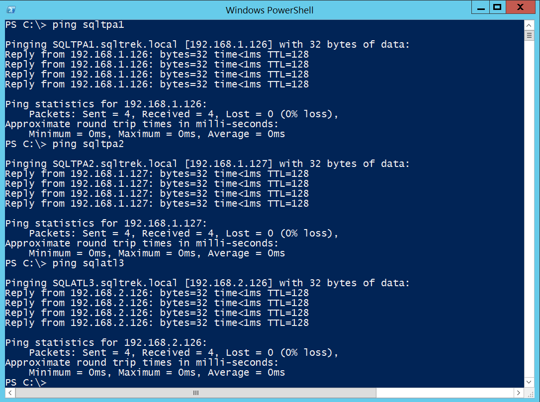 Let's validate all my configuration settings done so far. From SANDC machine: