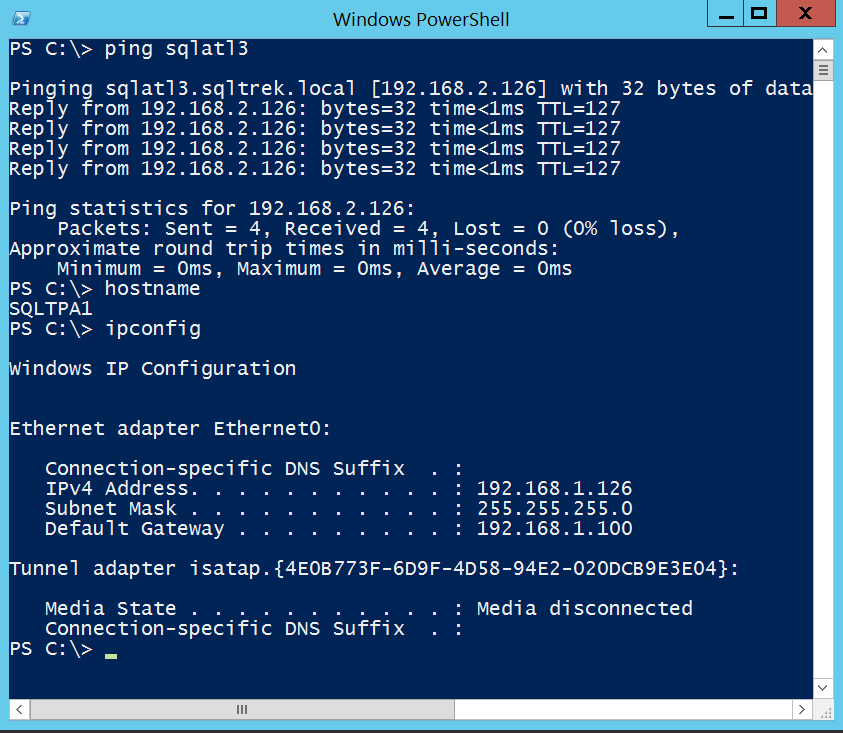 Ping test from SQLTPA1 to SQLATL3: