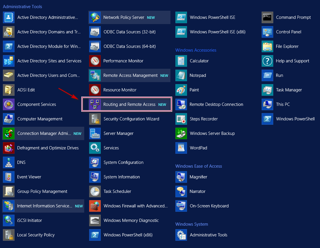 """Searching """"Routing and Remote Access"""""""