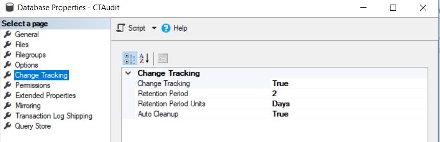 SQL Server Audit - Enable Change Tracking at the database level