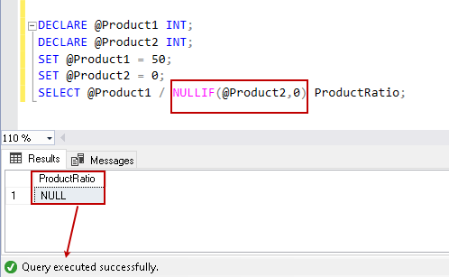 NULLIF to avoid error message