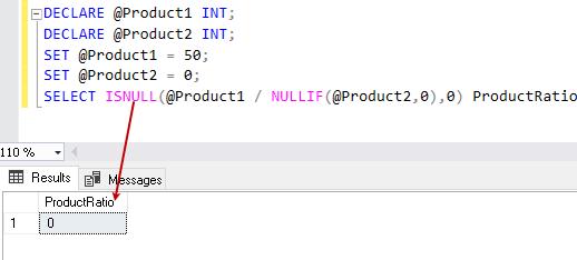 NULLIF and ISNULL function