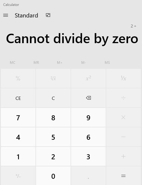 Divide by Zero message in calculator